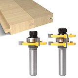 Tongue and Groove Router Bit Tool Set, Solid Steel, Anti Kickback Design