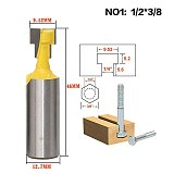 1Pcs 1/2'' Shank T-Slot Cutter Router Bit Steel Handle 3/8'' & 1/2'' Length Woodworking Cutters For Power Tools