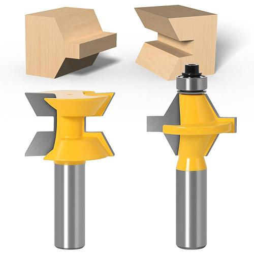 2Pcs 1/2  Shank 12mm shank Router Bit Set 120 Degree Woodworking Groove Chisel Cutter Tool