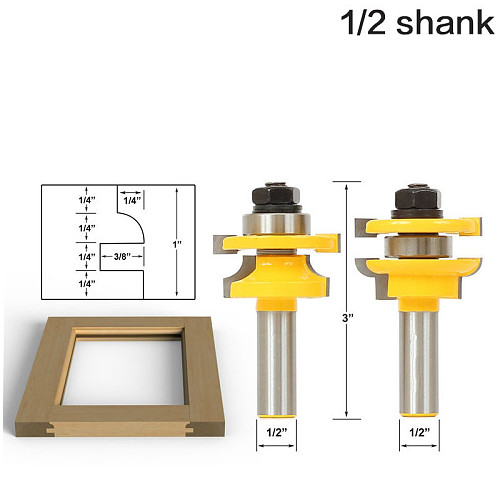 1/2  Shank Rail & Stile Router Bits - Matched 2 Bit door knife Woodworking cutter Tenon Cutter for Woodworking Tools