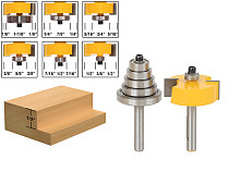 Rabbet Router Bit with 6 Bearings Set -1/2 H - 1/4  Shank Woodworking cutter Tenon Cutter for Woodworking Tools