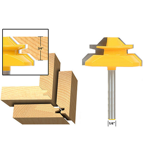 medium lock 45 degree miter router bit with 3/4  stock and 1/4  shank-RCT 15292