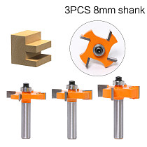 3pc 8mm Shank T type bearings wood milling cutter Industrial Grade Rabbeting Bit woodworking tool router bits for wood