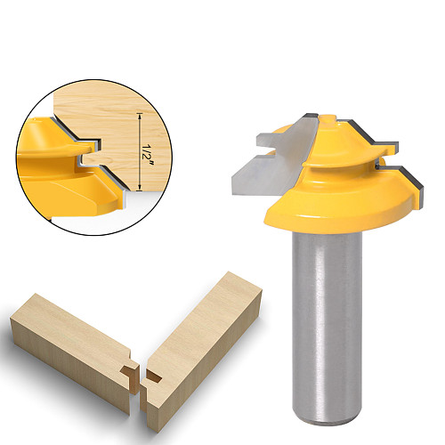 Small Lock Miter Router Bit - 45 Degree - 1/2  Stock - 1/2  Shank 12mm shank Tenon Cutter for Woodworking Tools-RCT15290