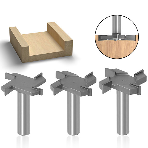 1pc 1/2 12mm Shank 4 Edge T Type Slotting Cutter Woodworking Tool Router Bits For Wood Industrial Grade Milling Cutter Slotting