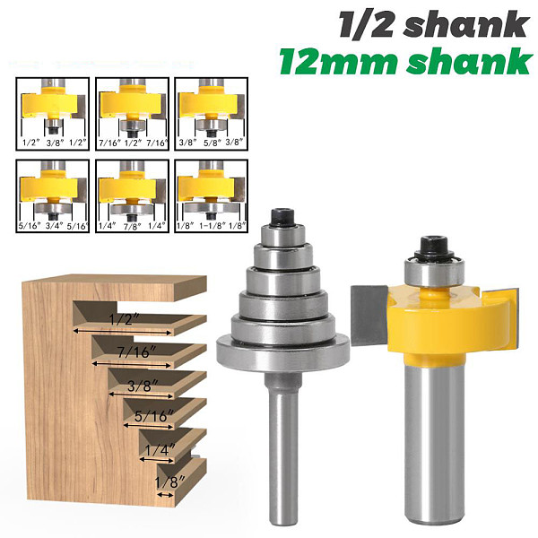 Rabbet Router Bit with 6 Bearings Set - 1/2  Shank 12mm shank Woodworking cutter Tenon Cutter for Woodworking Tools