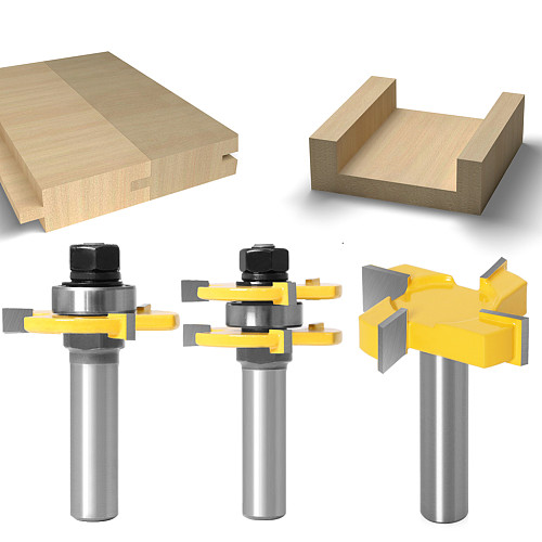 3pcs 12MM 1/2inch Shank Tongue & Groove Joint Assemble Router Bits 3/4  stock T-Slot Tenon Cutter Milling for Wood Woodworking