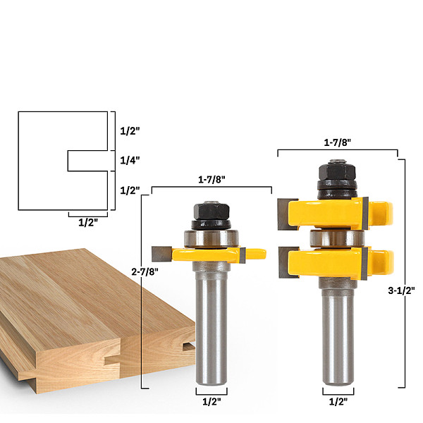 2pc 1/2  Shank 12mm shank Tongue & Groove Router Bit Set - Large StockWoodworking cutter TenonCutter for Woodworking RCT15211