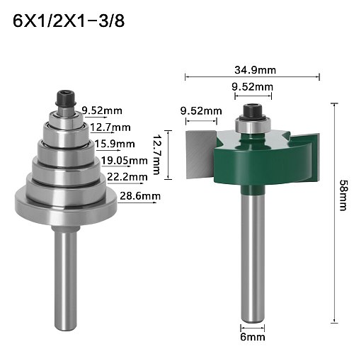 Rabbet Router Bit with 6 Bearings Set -1/2 H - 1/4  6mm Shank Woodworking cutter Tenon Cutter for Woodworking Tools