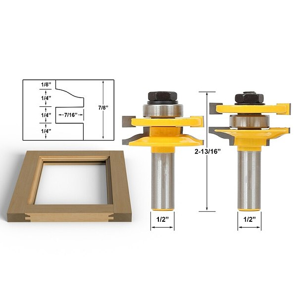 2pcs/lot Rail & stile Router Bit Set- Matched 2 Bit LARGE Ogee. 1/2  Shank shaker profile Shimming Instructions