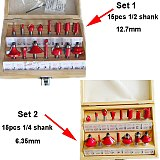 15PCS 1/4 (6.35mm) Shank Tungsten Carbide Router Bit Set Wood Woodworking Cutter Trimming Knife Forming Milling Wood Case box