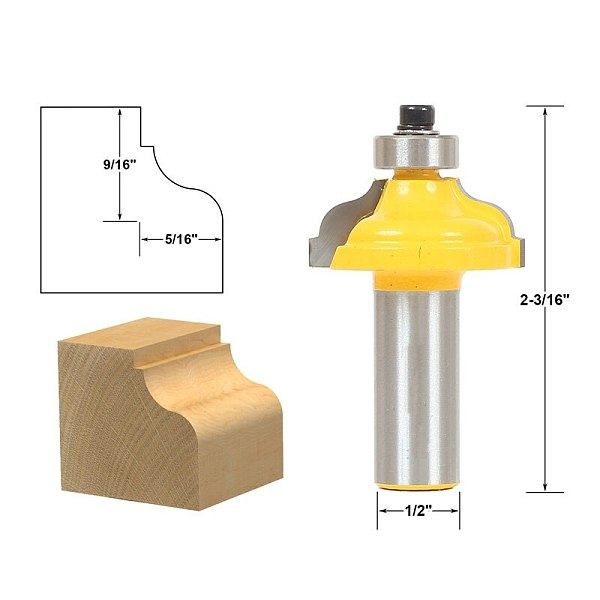 1pcs Ogee Fillet Edging and Molding Router Bit - Medium - 1/2  Shank