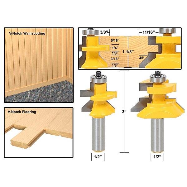 2pcs/lot 1/2 Matched Tongue & Groove V- Notch Router Bit Set Wooden CNC endmill Door Construction