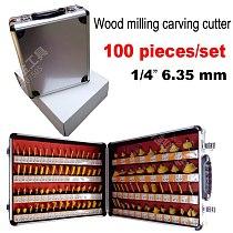 100PCS  1/4 Shank Woodworking Cutting Tools 6.35mm Engraving machine bits Engraving bits engraving blades