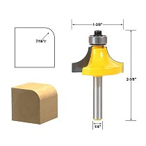 1pcs Round Over Edging Router Bit - 7/16  Radius - 1/4  Shank