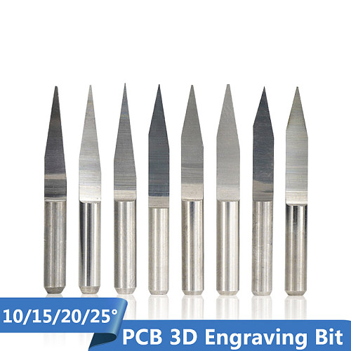 10pcs 3.175mm Shank Carbide V Shape Carving Cutter 10/15/20/25 Degrees PCB Machine Engraving Bits