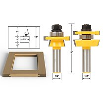 2pcs/lot Rail & Stile Router Bit Set - Shaker 2 Pc. 1/2  Shank shaker profile Shimming Instructions