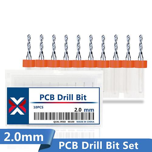 10 Pcs 2.0mm Print Circuit Board Gun Drill Bit Import Carbide PCB Drill Bits Mini CNC  Bit Set