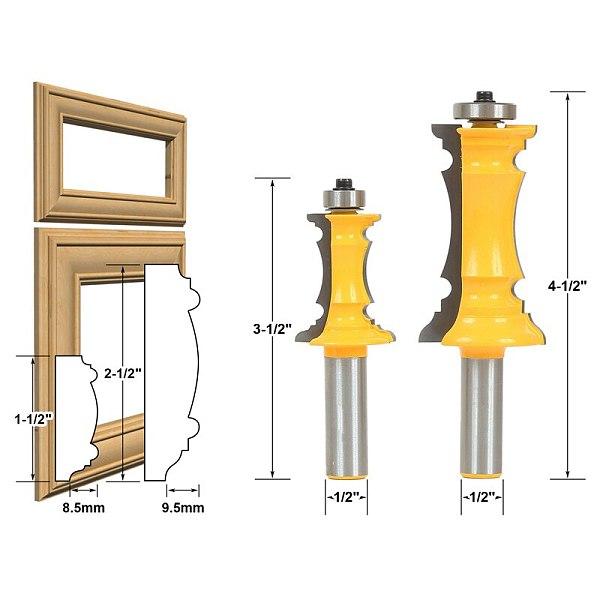 2pcs/lot Mitered Door & Drawer Molding 2 Bit Router Bit Set 1/2  Shank