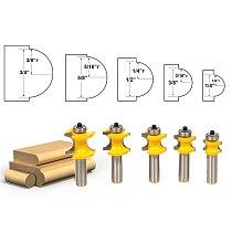 5pcs/set Bit Bullnose Router Bit Set C3 Carbide Tipped 1/2  Shank