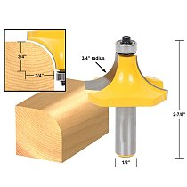 1pcs Round Over Edging Router Bit - 3/4  Radius - 1/2  Shank