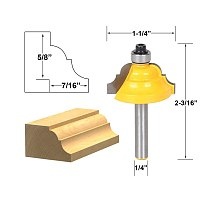 1pcs Double Roman Ogee Edging Router Bit - Medium - 1/4  Shank