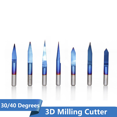 XCAN 10pcs Blue Coating PCB 3D Engraving Bits 30/40 Degrees Carbide V Shape CNC Router Bit Milling Cutter for CNC Engraving