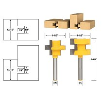 2pcs/lot Mini Tongue & Groove Router Bit Set - 1/4  Shank