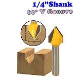 1pc 1/4  Shank 60 Degree V-Groove Router Bit - 1/2 W X 5/8 H - 1/4  Shank - Chwjw 14993q