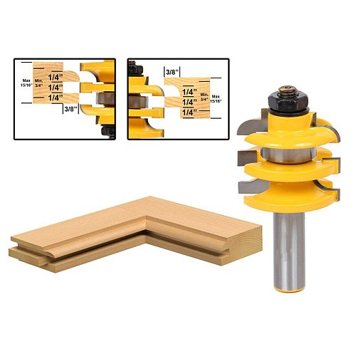 1pcs Stacked Rail & Stile Router Bit - 1/2  Shank wooden cutter Shimming Instructions