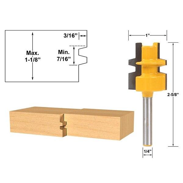 1pcs Glue Joint Router Bit - Medium Reversible - 1/4  Shank
