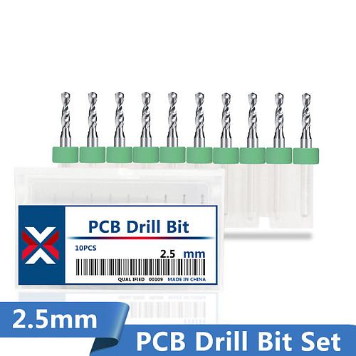 XCAN 10pcs 2.5mm Carbide PCB Drill Bits 3.175mm Shank Print Circuit Board Mini CNC Machine Drill Bit Set