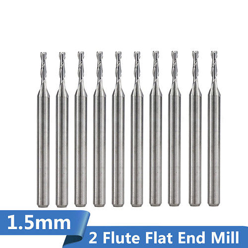 10pcs Diameter 1.5mm 2 Flute Flat End Mill CNC Router Bit for Wood/Plastic Engraving Carbide Milling Cutter