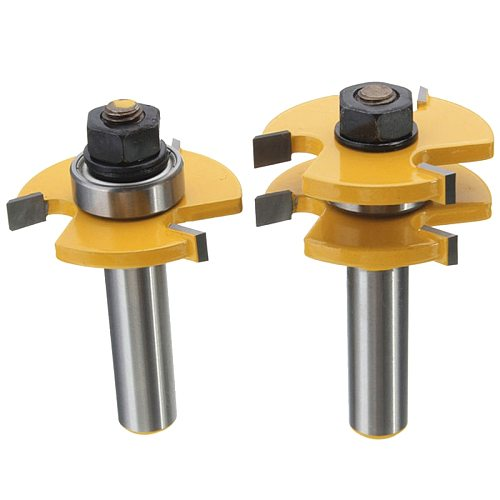 2pcs 1/2 Inch Shank T-handle Rail And Stile Router Bit Wood Working Cutter High Quality Matched Tongue and Groove Router Bit Set