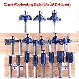 20PCS High Quality 1/4 6.35mm Shank Tungsten Carbide Router Bit Set Wood Woodworking Cutter Trimming Knife Forming Milling