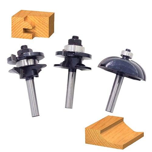 3pcs/lot Bit Raised Panel Cabinet Door Router Bit Set - 8mm Shank Hobbing CNC tools # 82338
