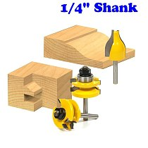 Rail and Stile w/ Vertical Panel Raiser 3 Bit Set Ogee 1/4  Shank Woodworking cutter Tenon Cutter for Woodworking Tools
