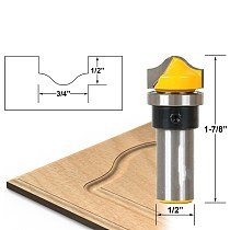 1pcs Profile Groove Template Router Bit - 1/2  Shank Cutting Diameter: 3/4 , Cutting Height: 1/2