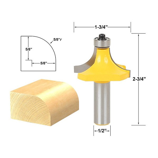 1pcs Round Over Edge Forming Router Bit - Radius: 5/8  - 1/2  Shank