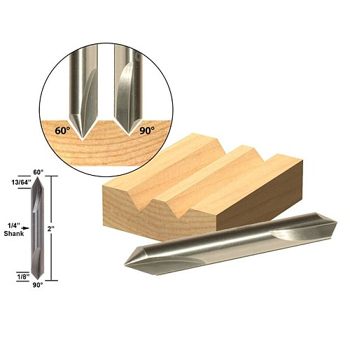 1pcs 60degree 90degree  V-Groove Double Ended Solid Carbide Router Bit 1/4  Shank