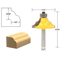 1pcs Double Round-Over Edging Router Bit - 1/4  Shank