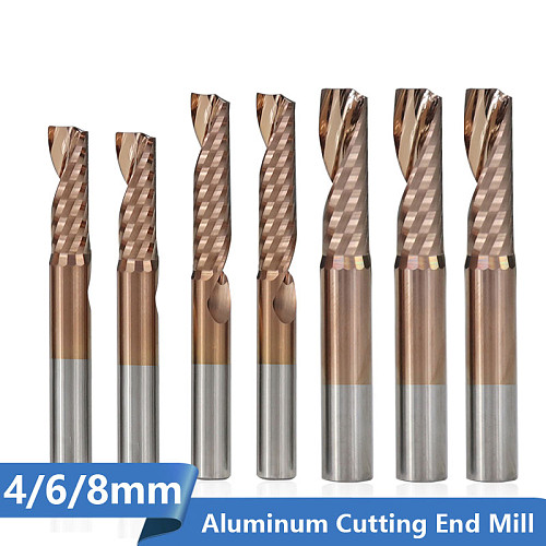 Aluminum Cutting End Mill 4 6 8mm Shank Single Flute TiCN Coating CNC Router Bit Carbide Milling Cutter
