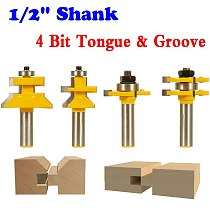4 Bit Tongue & Groove and V-notch Router Bit Set - 1/2  Shank Line knife Woodworking cutter Tenon Cutter for Woodworking Tools