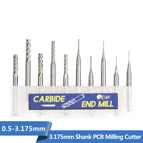 10pcs  0.5-3.175mm Carbide PCB End Mill CNC Engraving Milling Bit PCB Milling Cutter