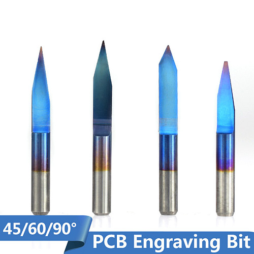 V Shape Milling Cutter 10pcs 45/60/90 Degrees Blue Coated Flat Bottom Carbide PCB Engraving Bits CNC Router Cutter