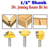 3Pc. Jointing Router Bit Set -Lock Miter, Glue Joint, Drawer Front Woodworking Cutter Tenon Cutter For Woodworking Tools