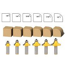 6pcs/lot Woodworking milling cutter Roundover Router Bit Set - 1/2  Shank