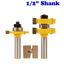 2pc 1/2  Shank Tongue & Groove Router Bit Set - Large Stock up to 1-1/4  Woodworking cutter Tenon Cutter for Woodworking Tools