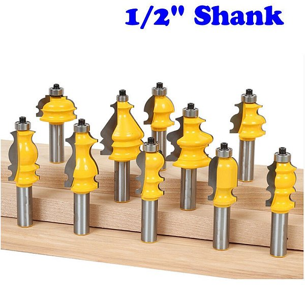 10 Bit Architectural Molding Router Bit Set - 1/2  Shank Line Knife Woodworking Cutter Tenon Cutter For Woodworking Tools