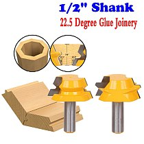 2pc Lock Miter Router 22.5 Degree Glue Joinery Router Bit Set - 1/2  Shank Woodworking cutter Tenon Cutter for Woodworking Tool